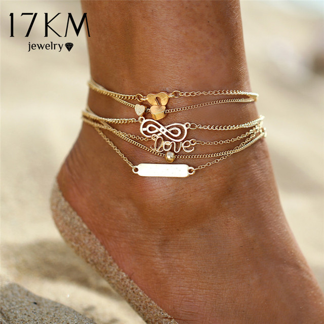 17KM Crystal Sequins Anklet Set For Women Beach Foot jewelry Vintage Statement Anklets Boho Style Party Summer Jewelry 3Pcs/lot 2