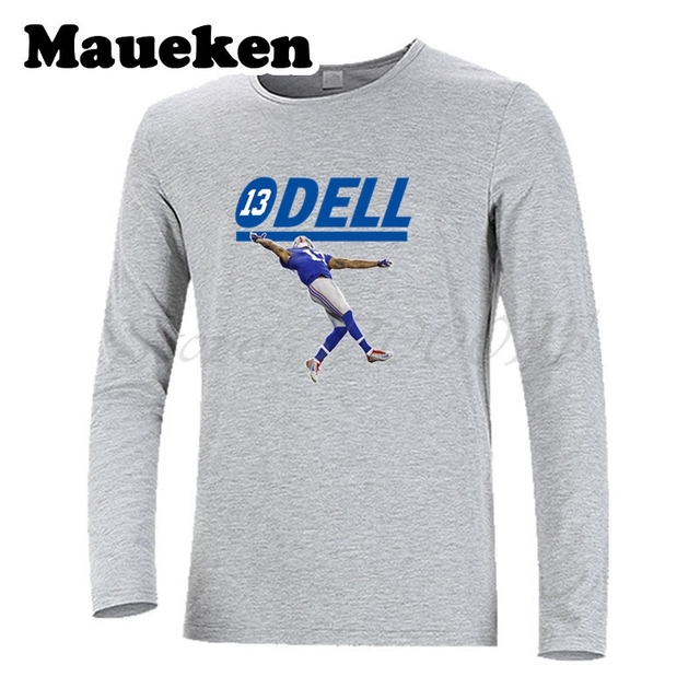 outlet store 4acbc de559 US $19.69 10% OFF|Men T Shirt Odell Beckham Jr #13 ODell Long Sleeve New  York Clothes T Shirt Guitar Men's Autumn Winter W17100619-in T-Shirts from  ...