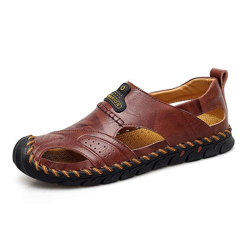 Marka 2019 yeni el yapımı yaz sandalet plaj sandaletleri nefes erkek ayakkabıları hakiki deri erkek günlük ayakkabılar artı boyutu 38-48
