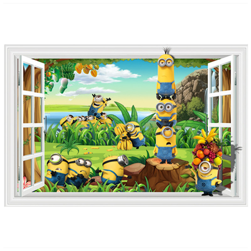 Baby favorite minions anime wall decals happy fruit garden for 3d garden decoration