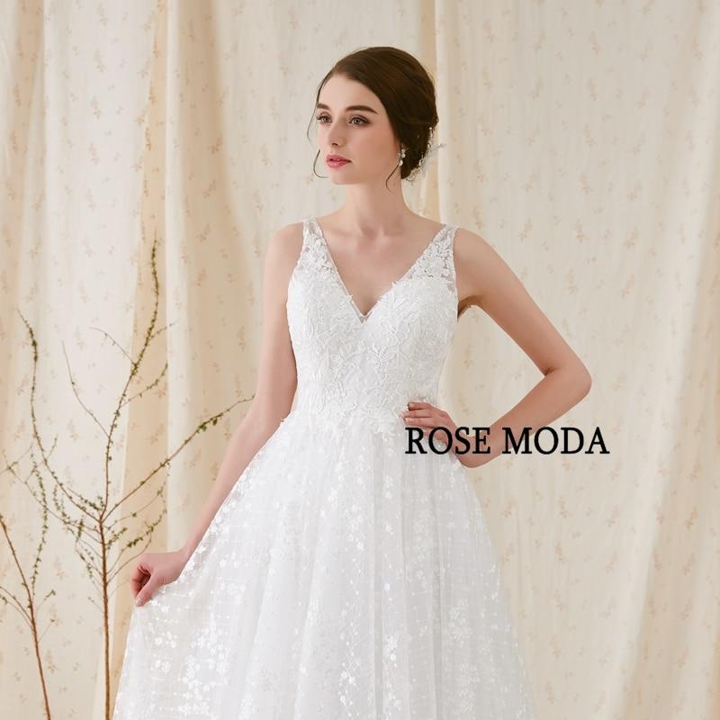 Rose Moda Delicate Chantilly kanten trouwjurk 2018 Backless kanten - Trouwjurken - Foto 5