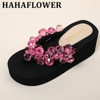 HAHAFLOWER 2017 female summer toe sandals with flat Sandals Flip Flops Beach Shoes wholesale Diamond Beads FREE SHIPPING