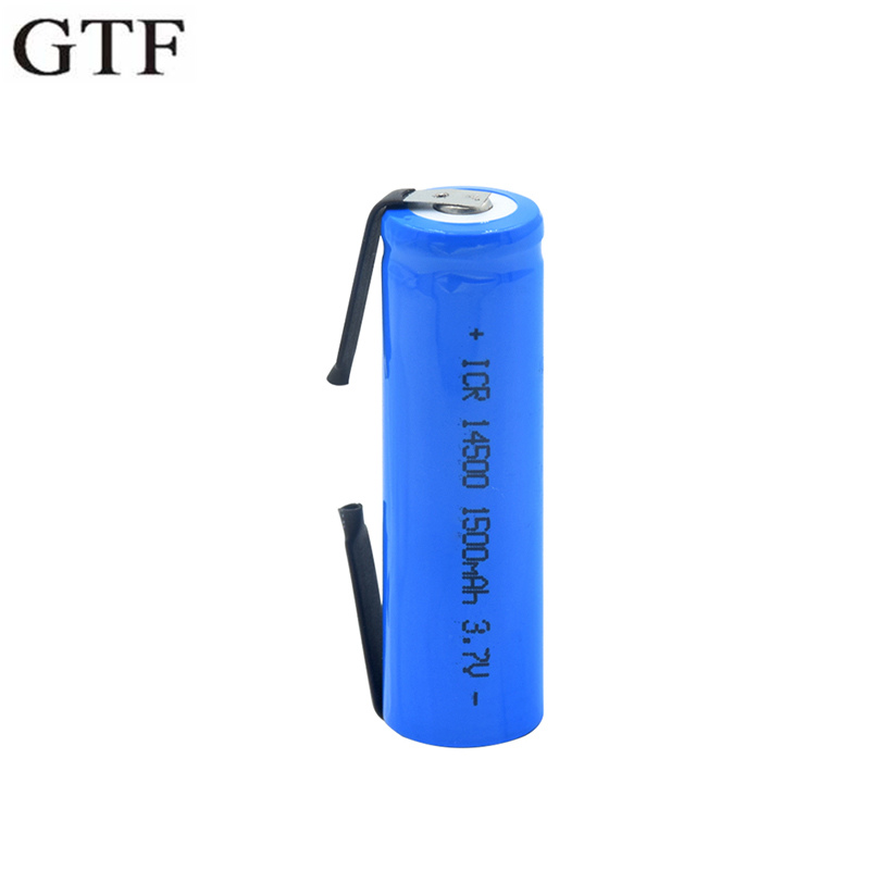 GTF 14500 3.7V 1500mAh Rechargeable Li-ion Battery With Tab For Torch Flashlight Microphone Radio Gamepad Headlamp 14500 Battery