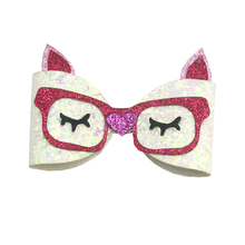 4 inch 2019 new girls hair bows synthetic Polyester Crocodile clip accessories puss Cartoon Hairpins