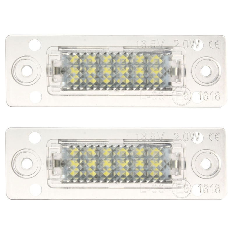 2Pcs Car LED License Plate Light 12V SMD3528 LED Number Plate Lamp For Volkswagen/Skoda Superb 2pcs car led license number plate light lamp 6w 12v 24 led white light for ford focus 2 c max