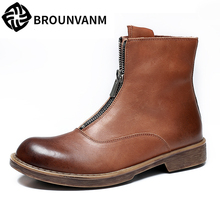 Martin boots men Genuine Leather British high top shoes autumn winter Chelsea boots male cowboy boots mens all-match cowhide