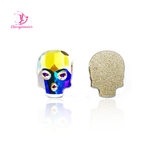 36Pcs 6x8,8x10mm C2570 Crystal AB Skull Super Deal Shiny Non Hotfix Rhinestones Clear For 3D Nail Art Decoration