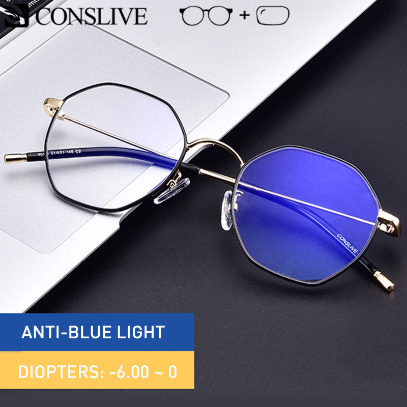 Blue Ray Blockin Computer Glasses Women Round Myopia Eyeglasses Saddle Glasses Anti Blue Light Glass Frame Optical Spectacles