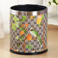 Creative European Style Waste Bins Garbage Pail Retro PU Leather Wastebasket Paper Basket Storage Bucket Round Trash Can Home