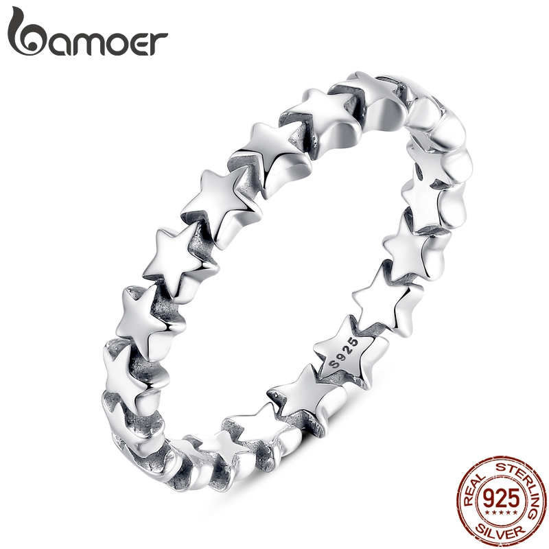 BAMOER Star Trail Stackable Finger Ring naistele pulm 100% 925 hõbe - Mood ehteid - Foto 1