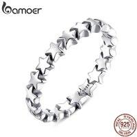 BAMOER Star Trail Stapelbar Finger Ring Für Frauen Hochzeit 100% 925 Sterling Silber Schmuck 2019 HEIßER VERKAUF PA7151