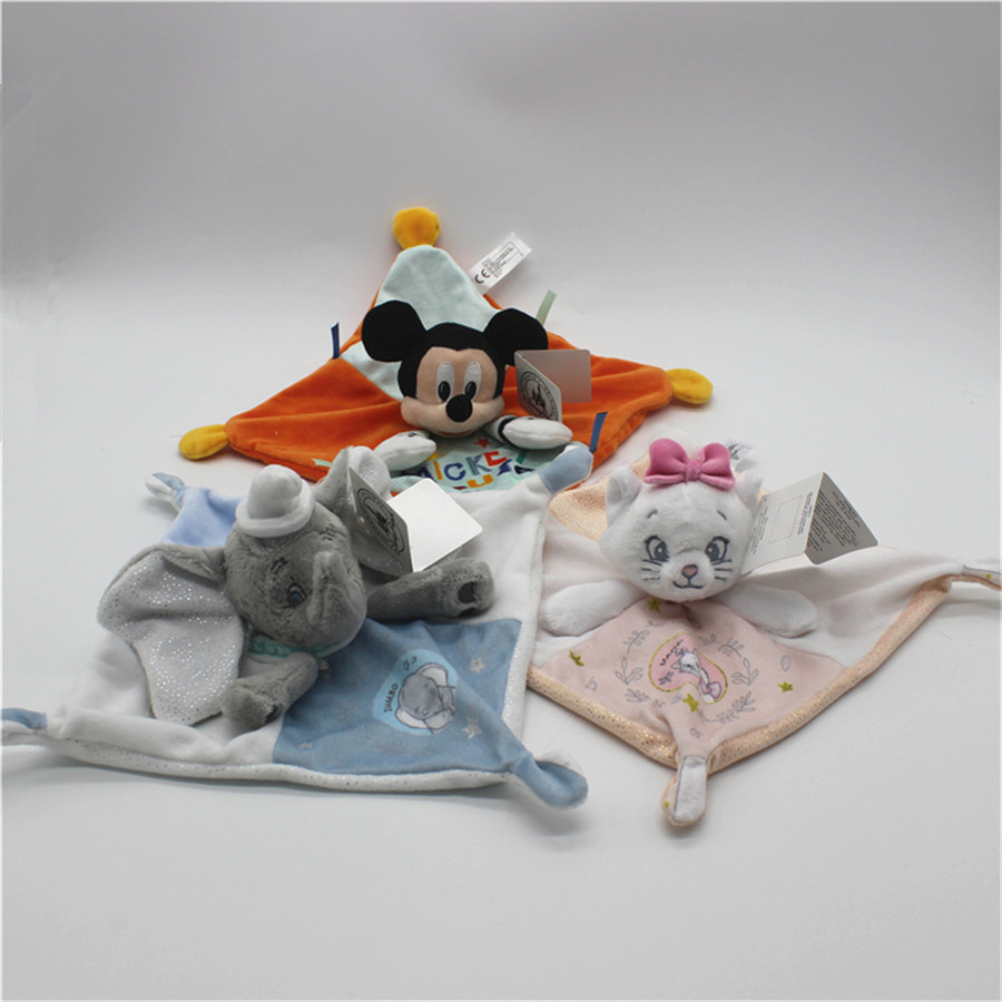 1pcs 20cm Dumbo marie cat mickey mouse plush soft blanket toys Children Gifts toys baby soft cartoon blanket toy