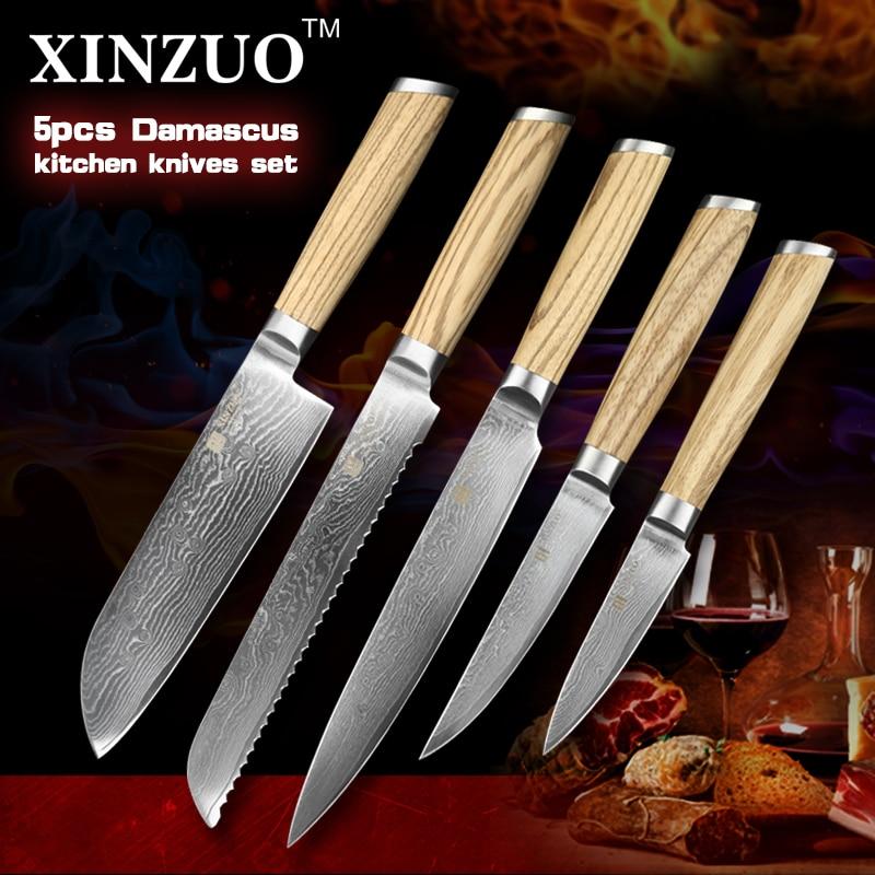 XINZUO 5 pcs kitchen font b knife b font set Damascus kitchen font b knife b