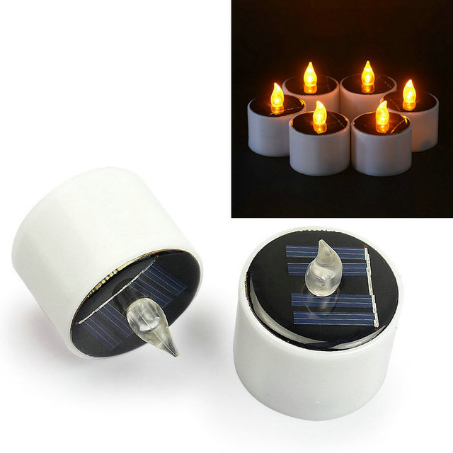 12pcs Solar Powered Led Electronic Tealight Flickering Flameless