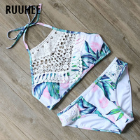 RUUHEE Bikini Swimwear Women Swimsuit 2017 High Neck Bathing Suit Brand Beachwear Push Up Maillot De