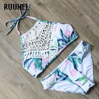 RUUHEE Bikini Swimwear Women Swimsuit 2017 High Neck Bathing Suit Brand Beachwear Push Up Maillot De