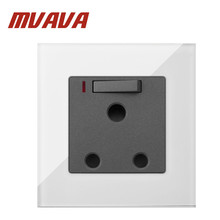 MVAVA 15A UK Switched Socket  White Luxury Crystal Glass South Africa Wall and Switch with LED Free Shipping