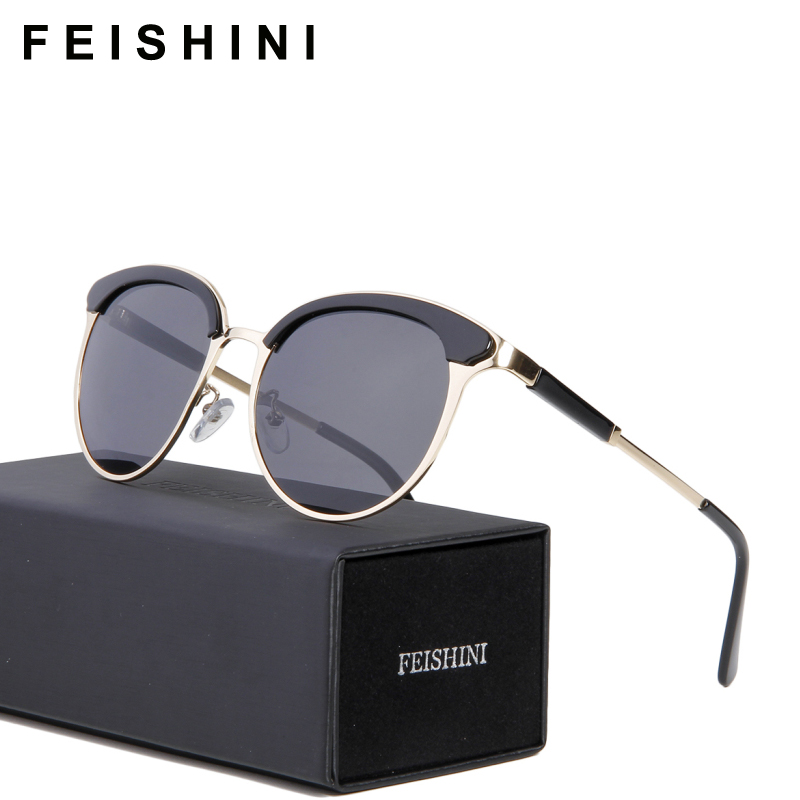 1a96c758ee FEISHINI Designer Metal Polarized Sunglasses Women Cat Eye Vintage New  Oculos Sunglass Polaroid HD Vision Fashion Personality
