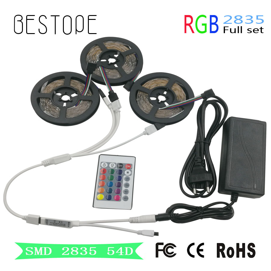 15M 10M 5M RGB LED Strip light SMD 2835 RGB diode led tape ribbon 3528 Waterproof led tape and remote controller with adapter led strip light 2835 smd rgb led tape 3528 led flexible strip 5m 10m waterproof lamp ribbon remote controller dc12v power supply