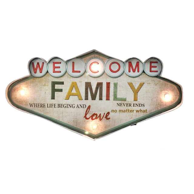Welcome Family Love Led Neon Signs For Bar Cofee Home Door Bar Decoration Vintage Metal Wall