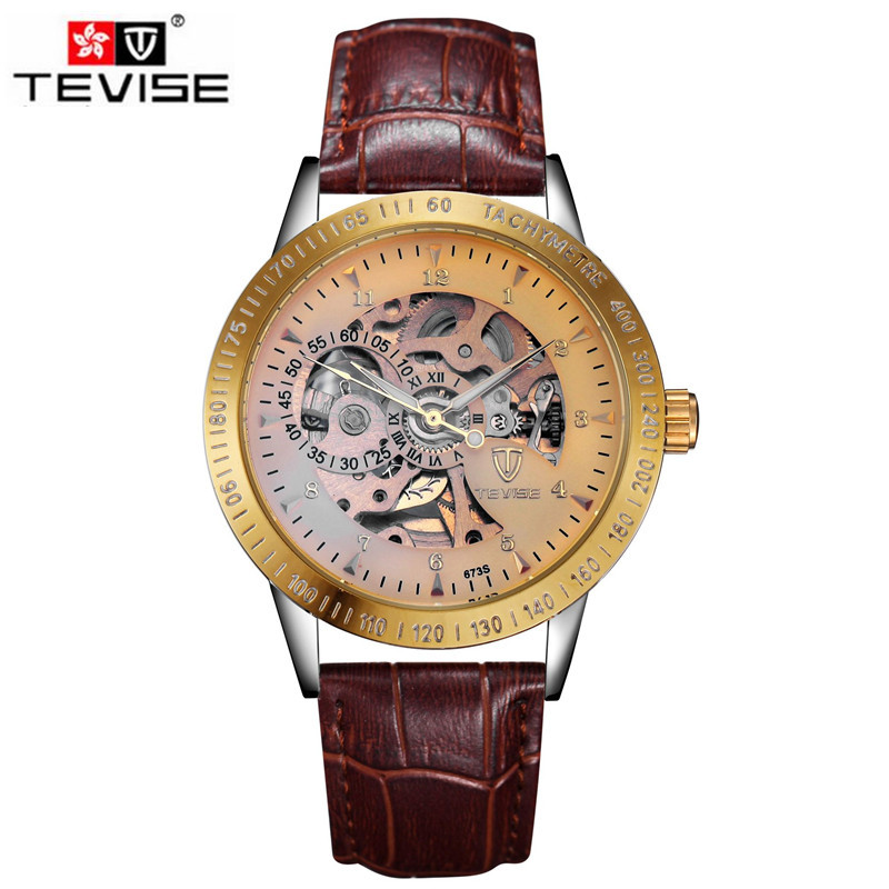 Tevise Luxury Watches for Men Relogio Masculino Skeleton Auto Watch Mechanical Watches Wrist Watches Gift Box Free Ship original tevise famous men s watches brand luxury men s 6 hands auto mechanical wristwatch gift box free ship