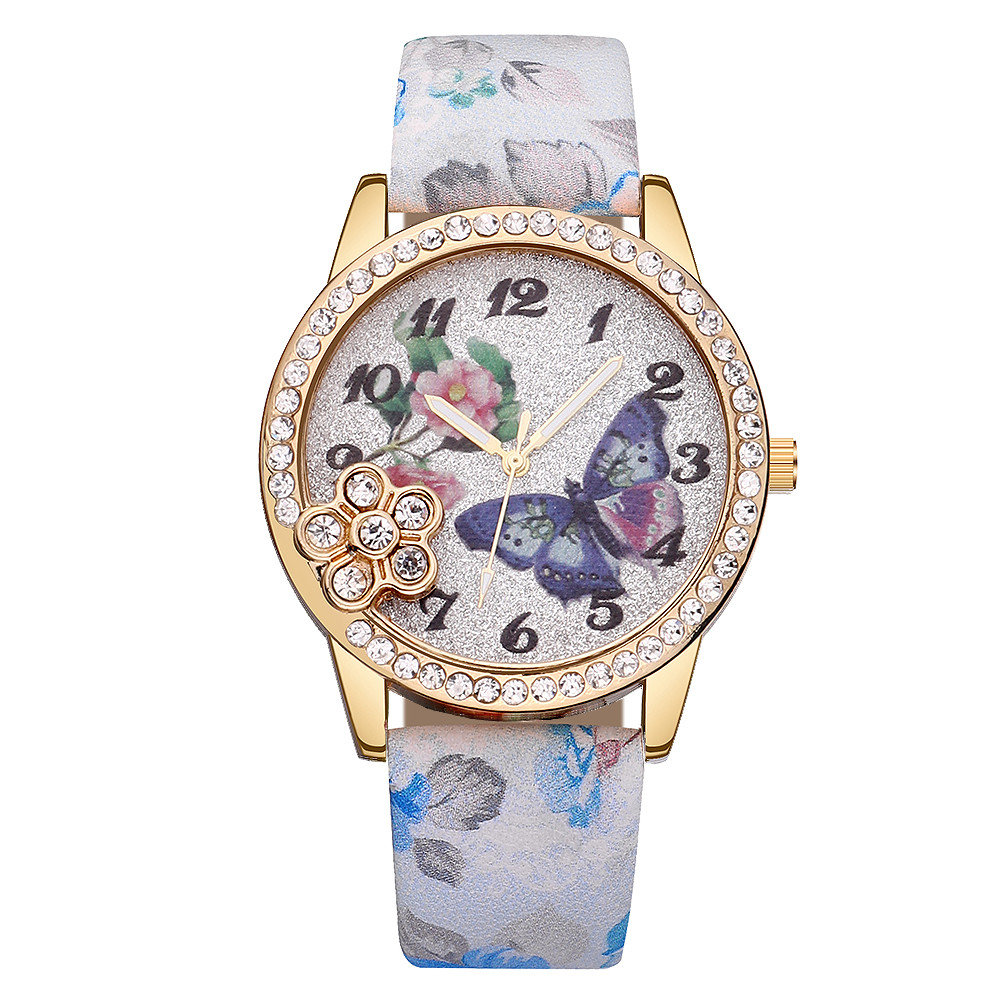 Fashion Butterfly Girls Ladies Womens Watch Leather Band Quartz Wrist Watch Gift watches women fashion watch 2018 unisex clock