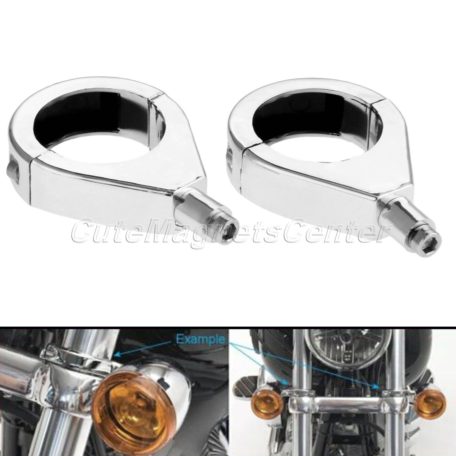 Mtsooning 2 pcs 41mm Moto Clignotants Lumières Indicateur Pinces à Fourches Relocation Mount Support pour Harley Davidson Softail