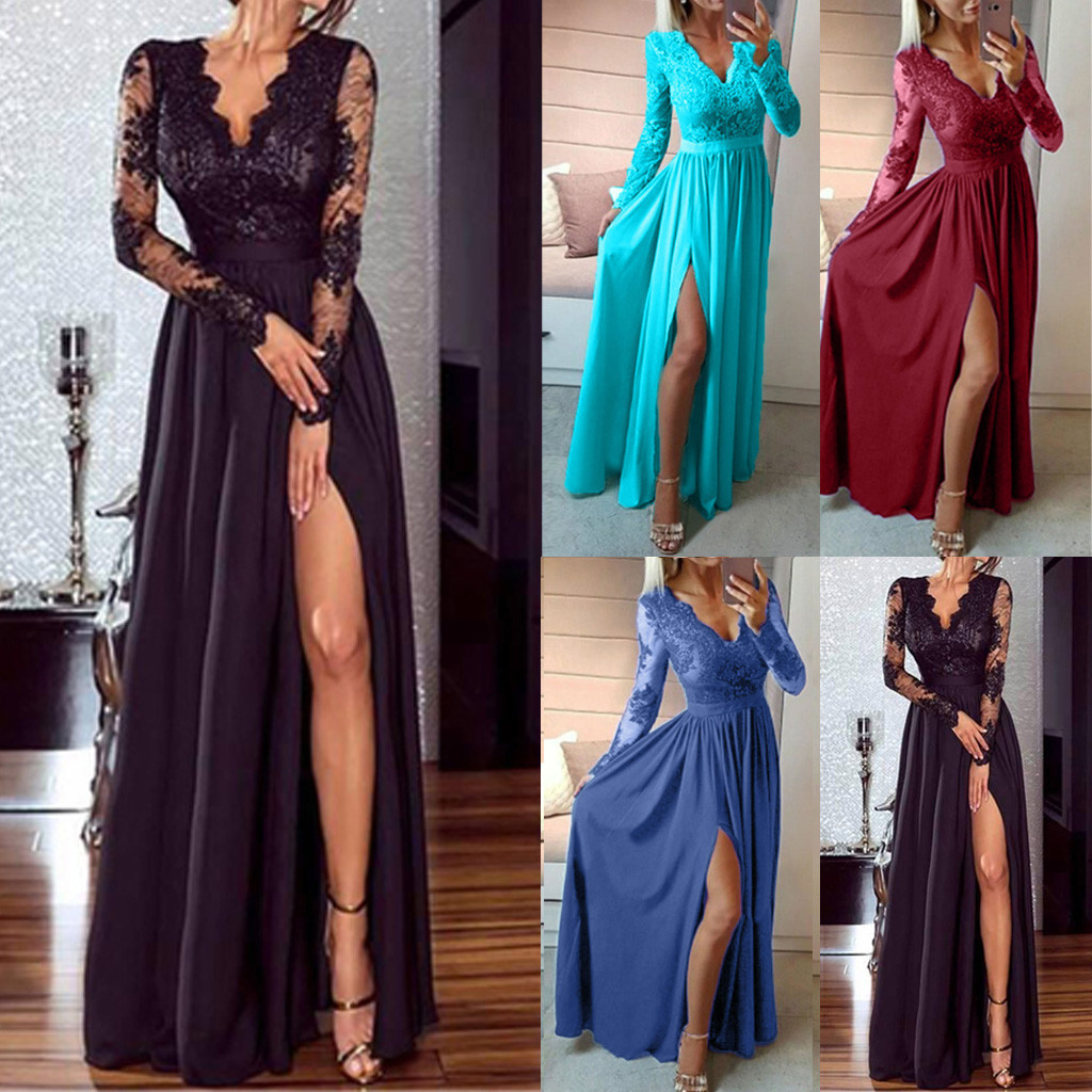 <font><b>Sexy</b></font> Women omen <font><b>Deep</b></font> <font><b>V</b></font>-Neck Lace Long Party Ball Prom Wedding Long <font><b>Dress</b></font> <font><b>Sexy</b></font> & Club Bandage Lace <font><b>Dress</b></font> image