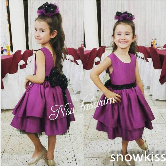 2016 A-Line Knee Length Purple flower girl dresses first communion 2 years baby wedding occasion ball gowns for Kids Evening