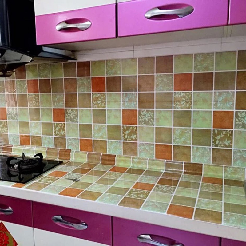 60cm x 3m Oil-proof sticker stove with waterproof smoke-proof hood tile wall wallpaper self-adhesive cabinet stickers