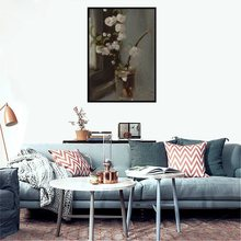 Elegance White Flowers in the Vase Hand Painted HD Printed Art Wall Decor for Living Room Pretty Oil Painting Canvas Gift Custom