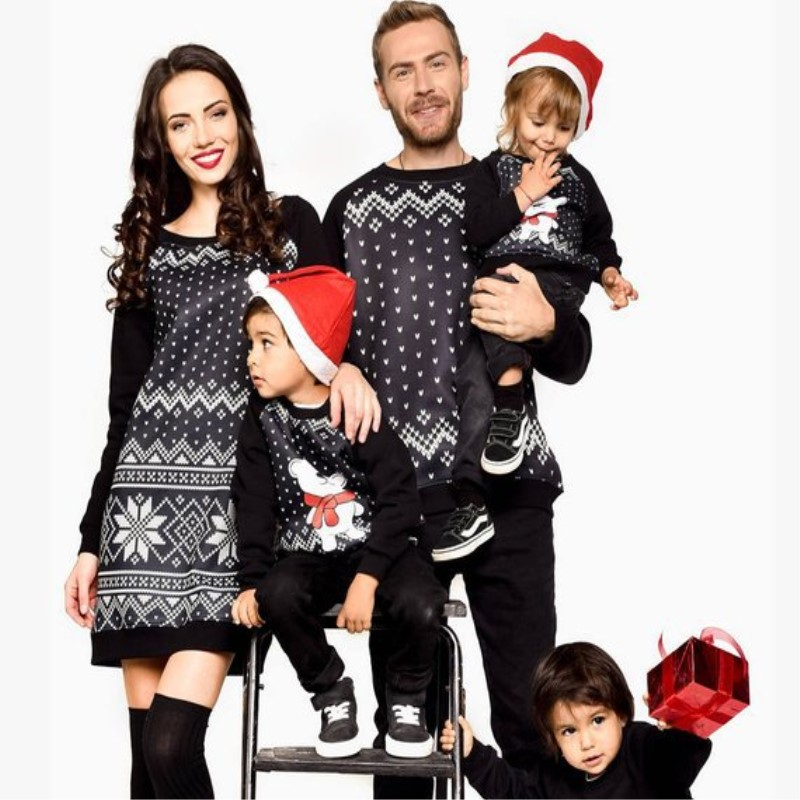 Family Matching Christmas Sweaters Pyjamas Snowflake Print Knitted Clothing Mommy and Me Clothes Father Son Shirts Coat Outfits christmas snowflake cat print mesh panel dress