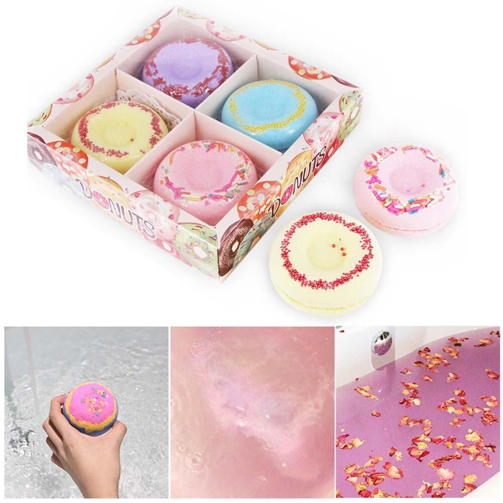 Bath Bombs Gift Set 4 Packs Natural Donut Bath Spa Kit Handmade Organic Spa Bomb Ideal Gift for Women, Men, Girls