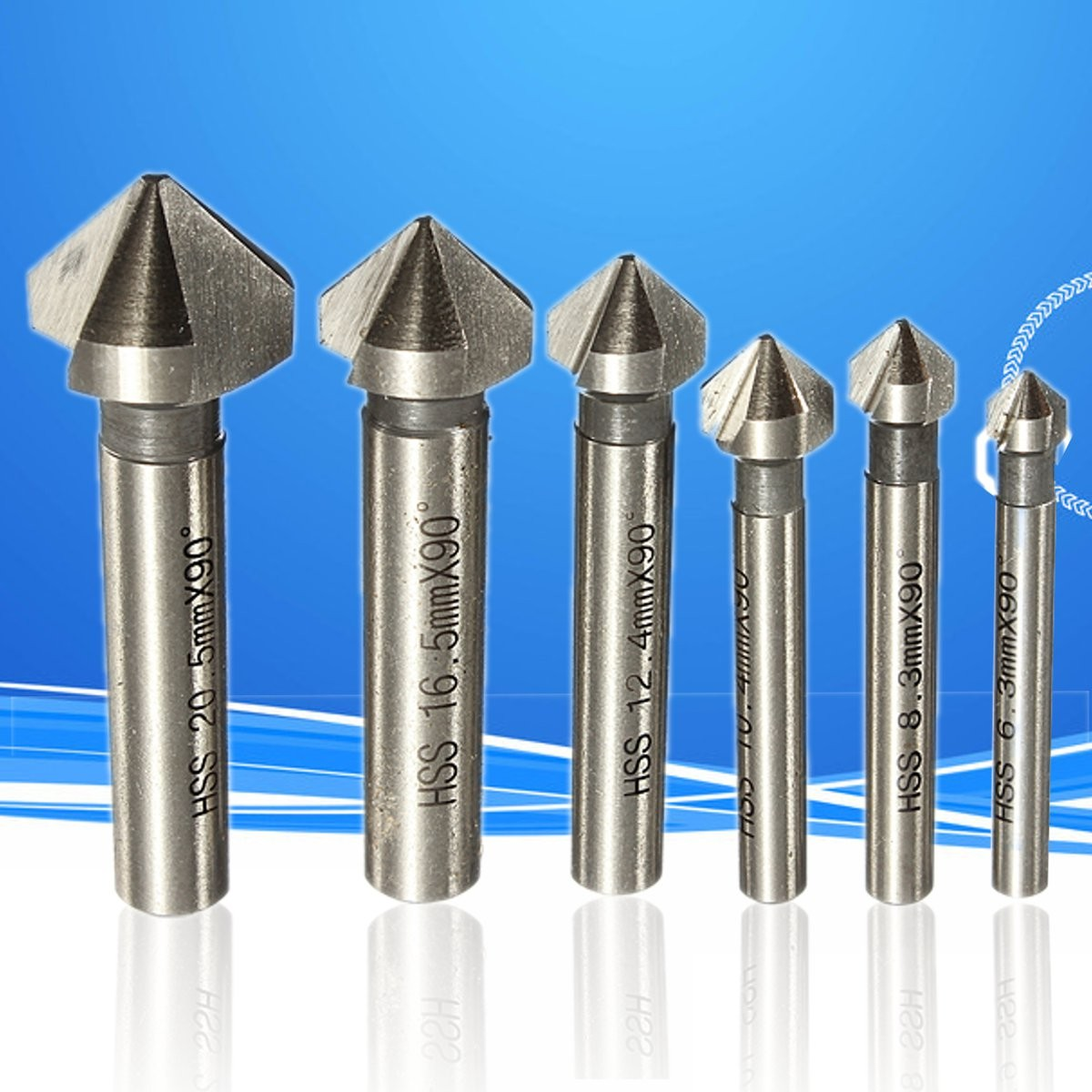 Round Shank 6pcs 3 Flute 90 Degree HSS Chamfer Chamfering Cutter End Mill Tool Countersink Drill Bit Set 6.3-20.5MM