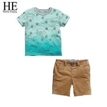 Hello Enjoy kids clothes boys 2017 spring brand casual boys clothing sets short sleeves Printing star T-shirt +shorts tracksuits
