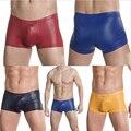 Excellent 4 Color Male Sexy Elastic Faux Leather Latex Boxer Short Underwear Low Waist Gay Men Jockstrap Panties Lingerie S308