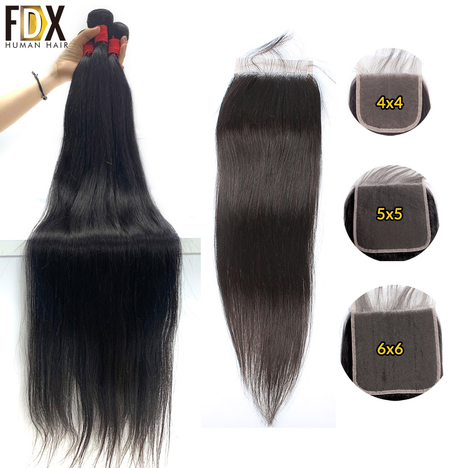 FDX Brazilian straight hair bundles with closure remy human weave deals 3 bundles of hair with