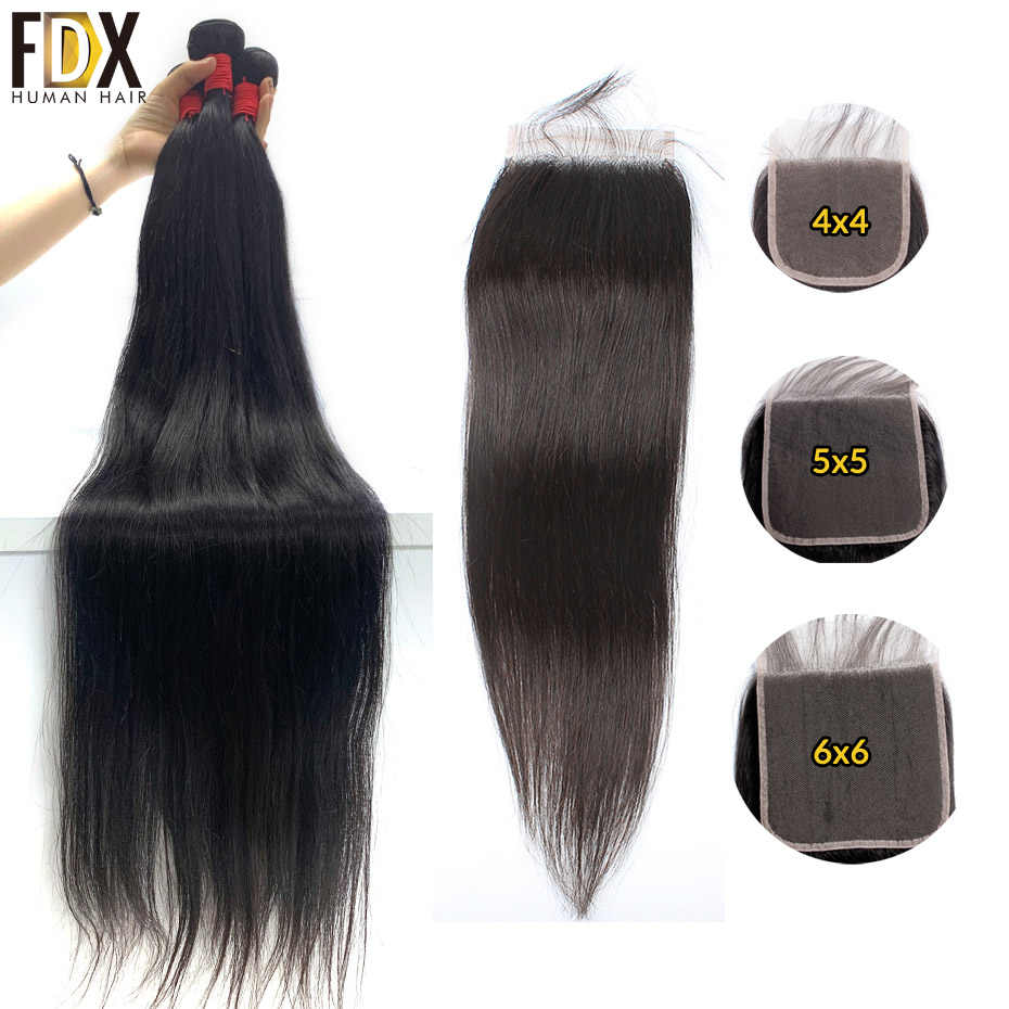 Brazilian silky straight hair bundles with closure remy human weave deals 3 bundle hair with 5x5 6x6 closure 30 32 34 36 38 inch