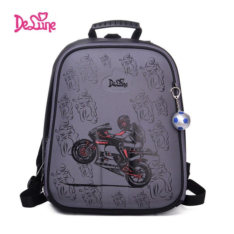 Высокое качество Delune 2017 мультфильм для детей школьного рюкзака для мальчиков ортопедический рюкзак Детская школьная сумка мотоцикл безопа...