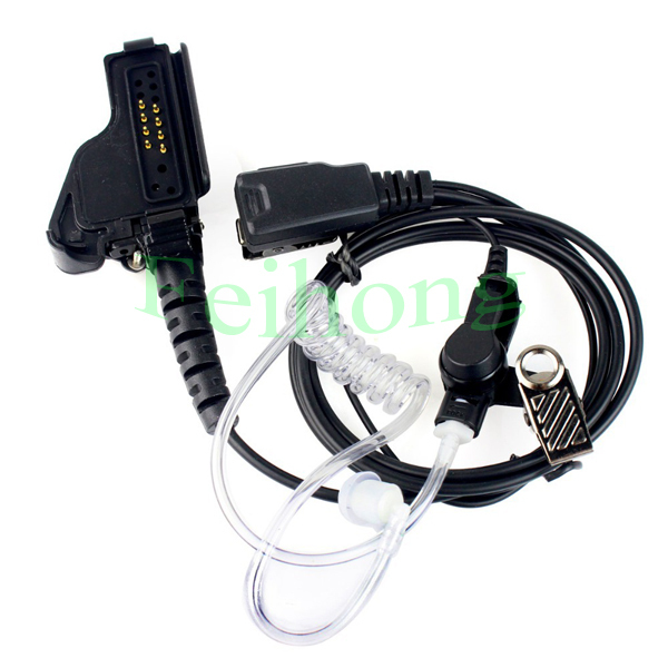 New Black Covert Acoustic Tube Earpiece PTT MIC Headset For Motorola Radio HT1000 XTS5000 XTS2500 MTS2000 Walkie Talkie