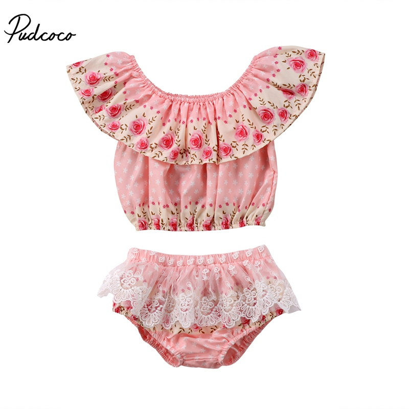 Sweet Newborn Toddler Baby Girls New Fashion Casual Flower Lace Tops + Lace Floral Ruffle Shorts Summer Outfits 0-24N Hot Sale