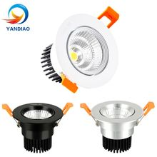 YANDIAO Dimmable LED Downlight  COB Ceiling Spot Light 3w 5w 7w 9w 12w 15w 18w 85-265V Recessed Lights Indoor Lighting