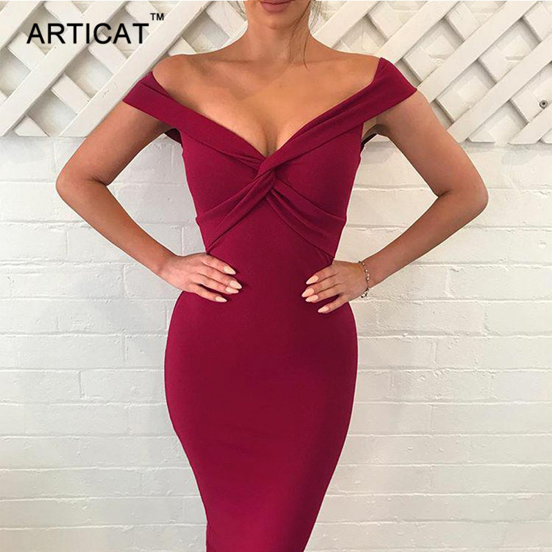 Articat Sexy V Neck Cross Bandage Dress Women Autumn Off Shoulder Backless Club Party Dresses Casual Sheath Bodycon Pencil Dress