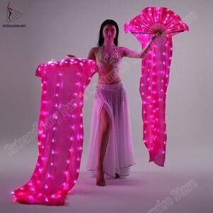 Image 4 - Nuova Danza Del Ventre di Seta Fan Velo LED Ventole Light up Shiny Pieghe Carnevale LED Ventole Oggetti di Scena Accessori di Prestazione Della Fase Costume
