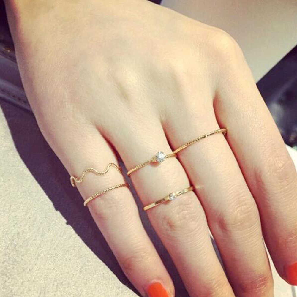 Vienkim 5 pcs\ Set the brightness of cute Chic 2018 New style crystal rhinestone midi fist finger joint ring women ring