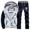 S-4XL 2016 мужская бутик утолщение теплая зима спортивные костюмы/Мужской теплые толстовки/куртки + спортивные брюки/повседневная куртка с капюшоном пальто