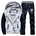 S-4XL 2016 men's boutique thickening of warm winter sport suits/Male warm hoodies/jackets+sports pants/Casual hooded jacket coat