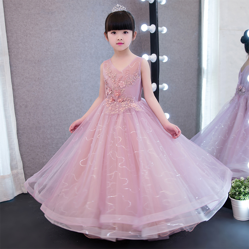 2017 New Luxury Children Girls Embroidery Flowers Princess Dresses Kids Birthday Wedding Formal Party Wear Infant Pageant Dress