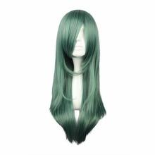 MCOSER 68 см синтетический длинный прямой волос темно-зеленый цвет высокотемпературный волоконный парик WIG-555D