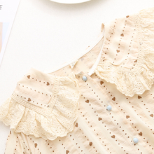 Милая кружевная блузка с воротником в стиле Питера Пэна с принтом в виде сердца; Новинка года; сезон лето; mori girl